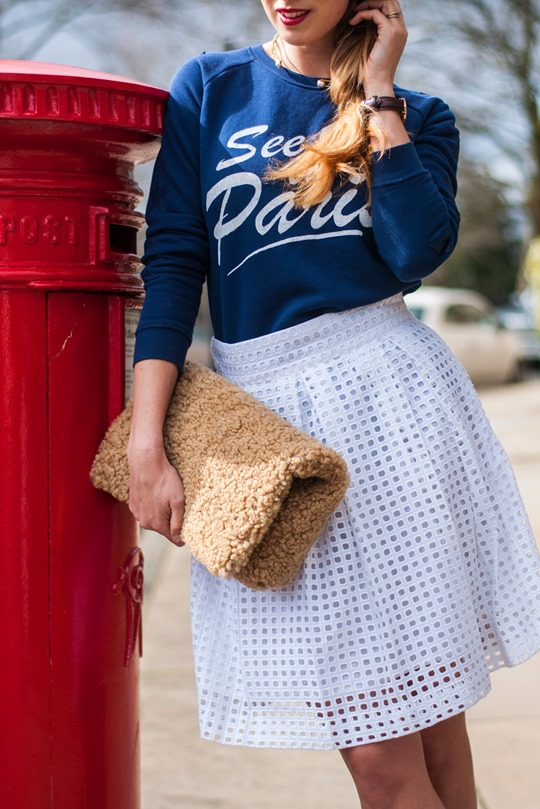 Thankfifi- See you in Paris & the Next borderie anglaise pleated skirt-11