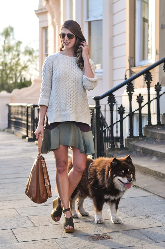 Thankfifi- Spring street style in Gant Rugger cable knit & Carven Paris Vestiaire skirt