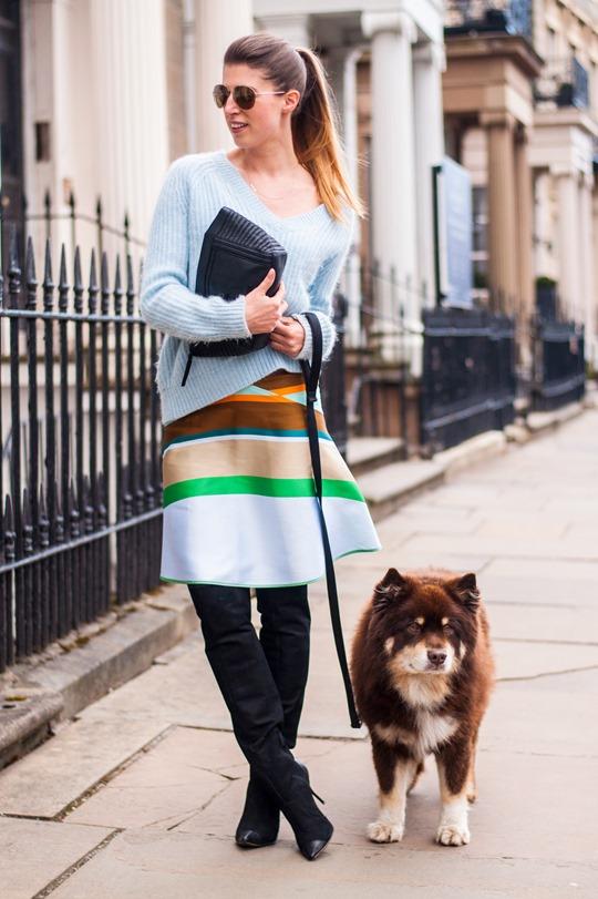 Thankfifi- Spring styling - Ostwald Helgason stripe skirt w. Sophia Webster over the knee Hallie boots-2