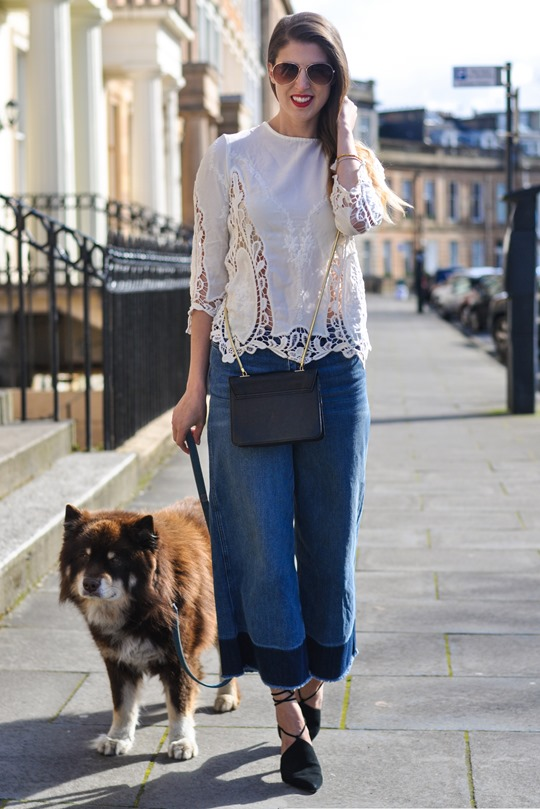 Thankfifi- The H&M Trend denim culottes & crochet lace-3