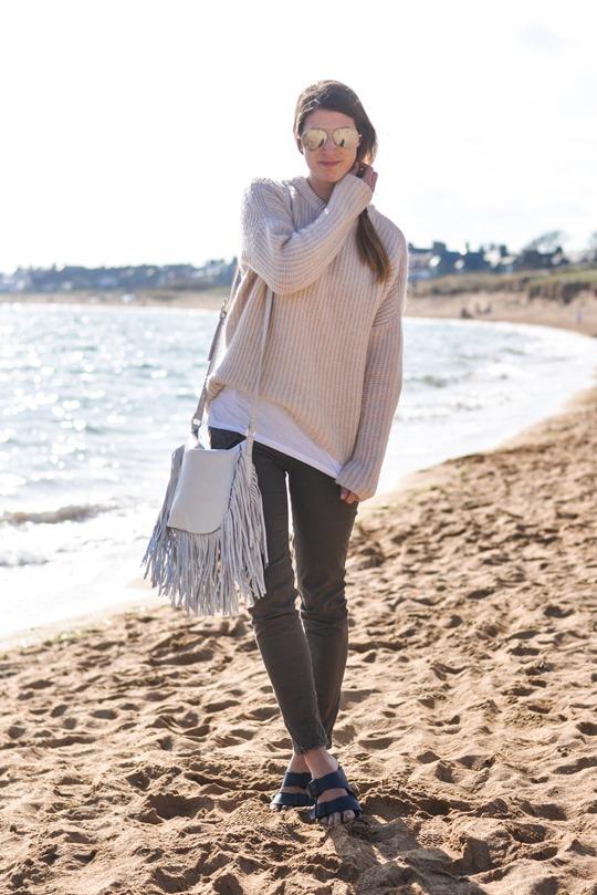 Thankfifi- White fringed bag & Birks - beach style-4