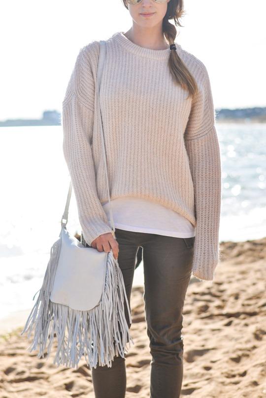 Thankfifi- White fringed bag & Birks - beach style-5