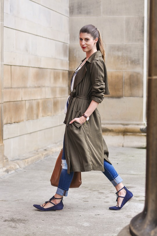 Thankfifi- F&F khaki trench & Boden Lille lace up flats-7