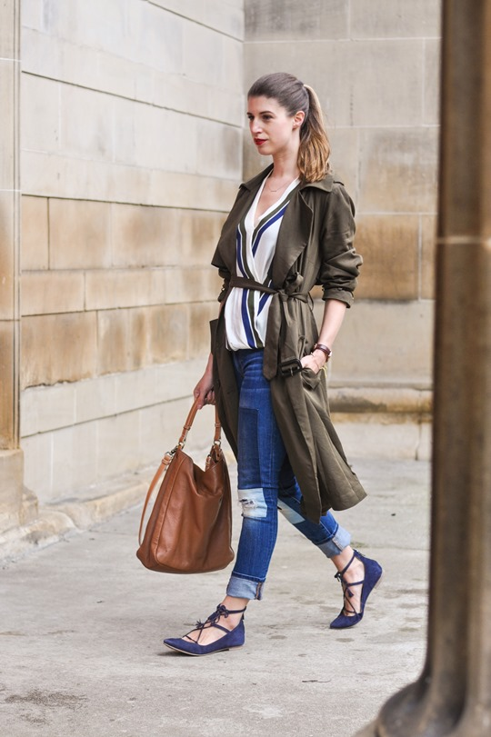 Thankfifi- F&F khaki trench & Boden Lille lace up flats-8