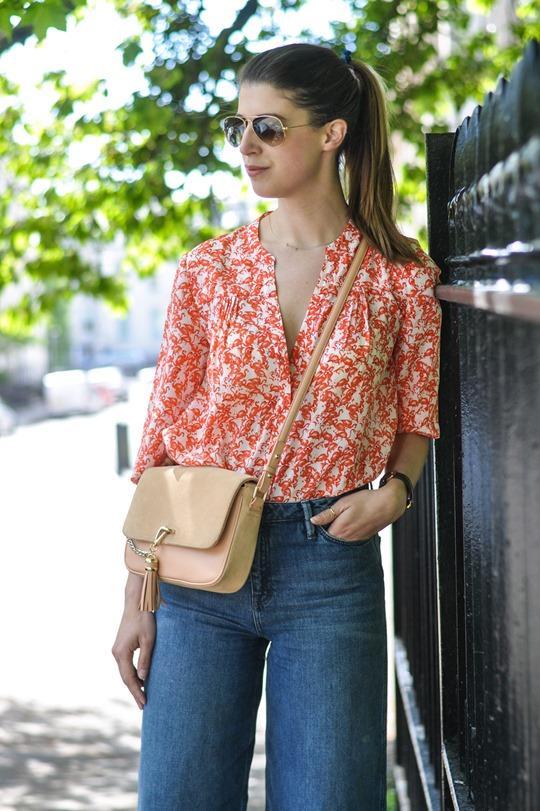 Thankfifi- H&M Trend denim culottes & Hallhuber silk flamingo print shirt-4