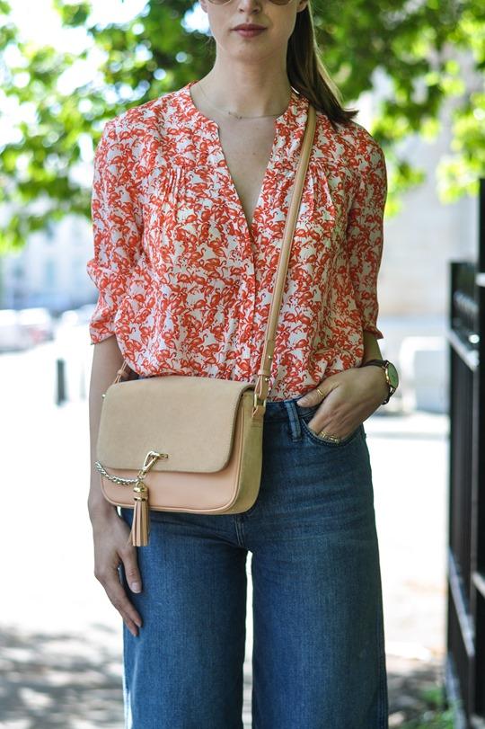 Thankfifi- H&M Trend denim culottes & Hallhuber silk flamingo print shirt-6