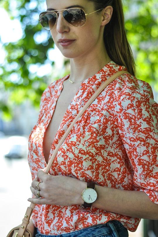 Thankfifi- H&M Trend denim culottes & Hallhuber silk flamingo print shirt-9