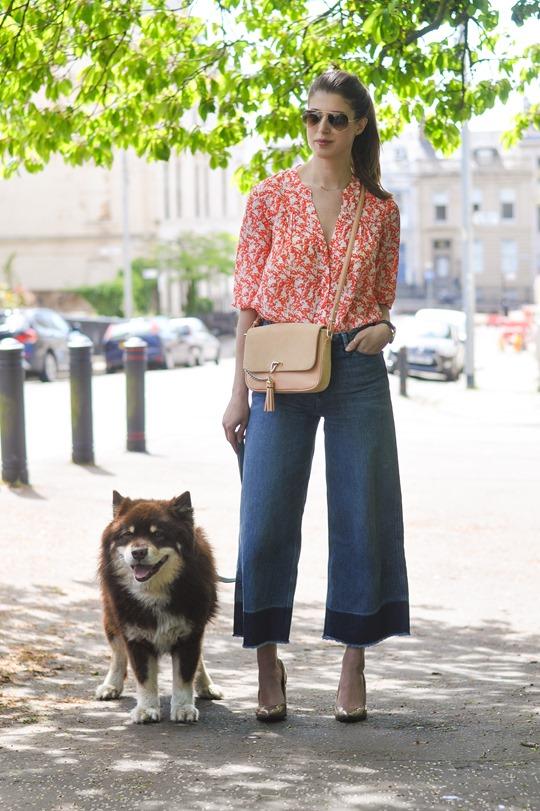 Thankfifi- H&M Trend denim culottes & Hallhuber silk flamingo print shirt