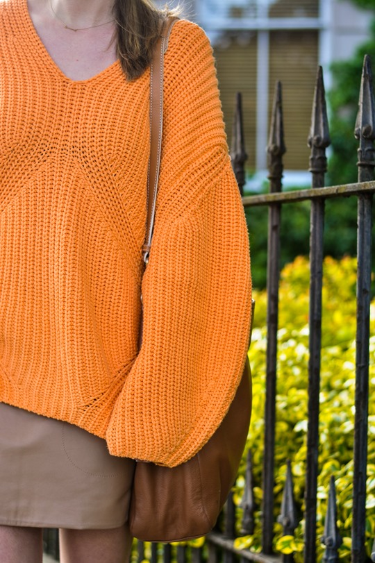 Thankfifi- H&M Trend oversize orange jumper-11