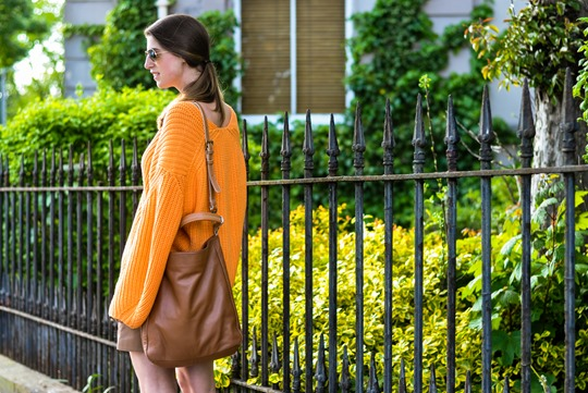 Thankfifi- H&M Trend oversize orange jumper-9