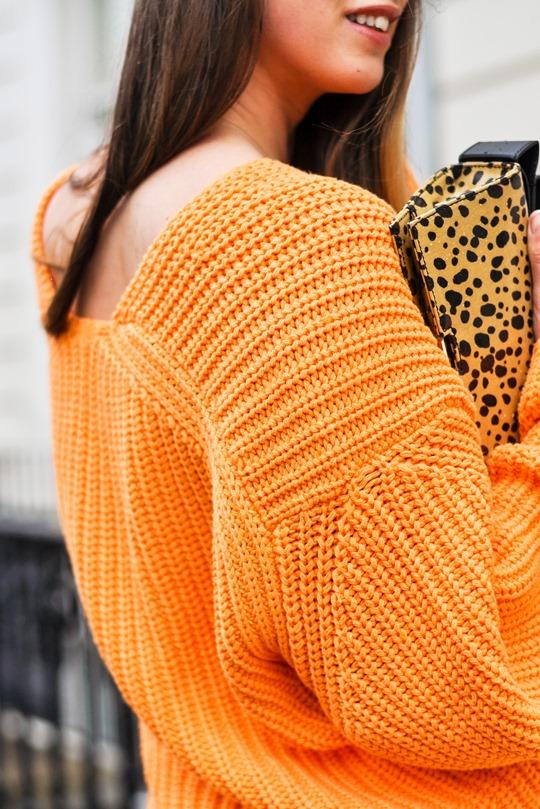 Thankfifi- H&M Trend oversize orange knit-14