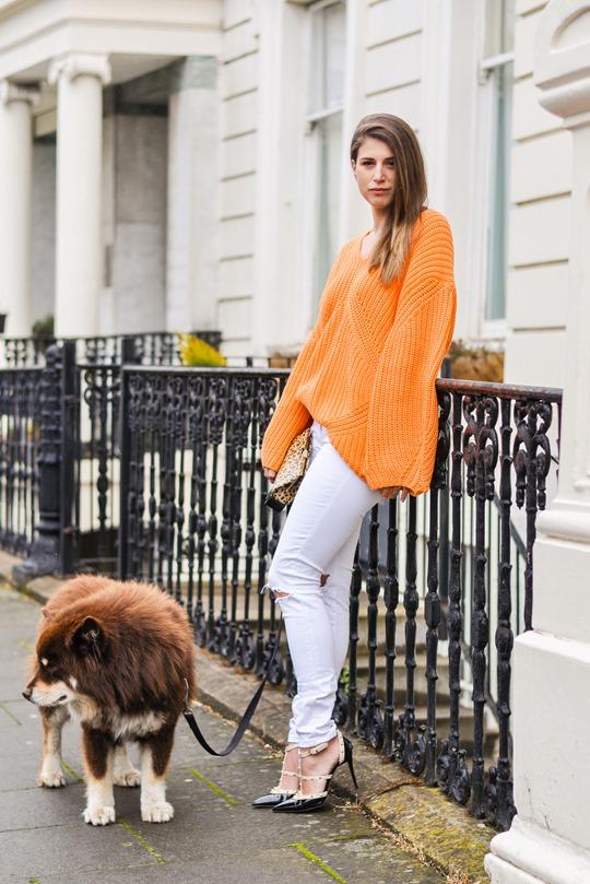 Thankfifi- H&M Trend oversize orange knit-2