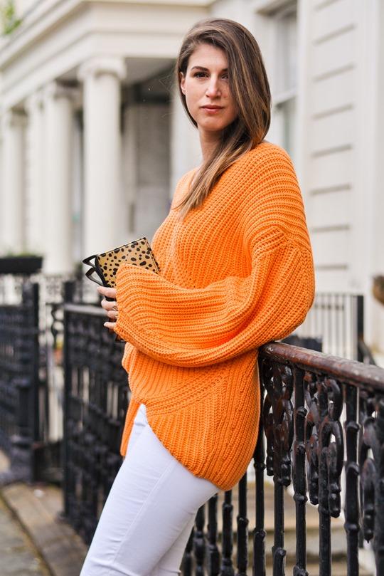Thankfifi- H&M Trend oversize orange knit-3