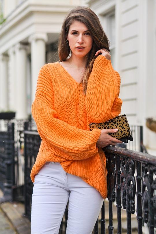 Thankfifi- H&M Trend oversize orange knit-4