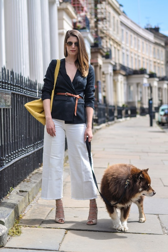 Thankfifi- H&M Trend white denim culottes