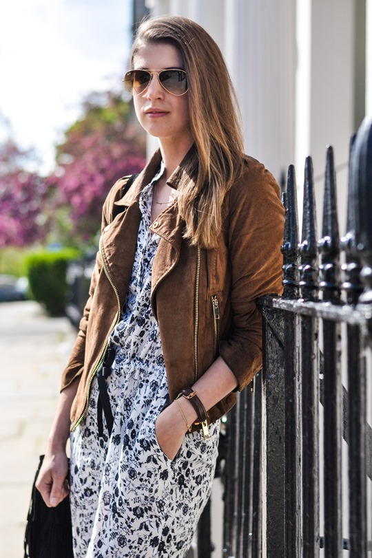 Thankfifi- Mango floral jumpsuit and tan suede biker jacket-5