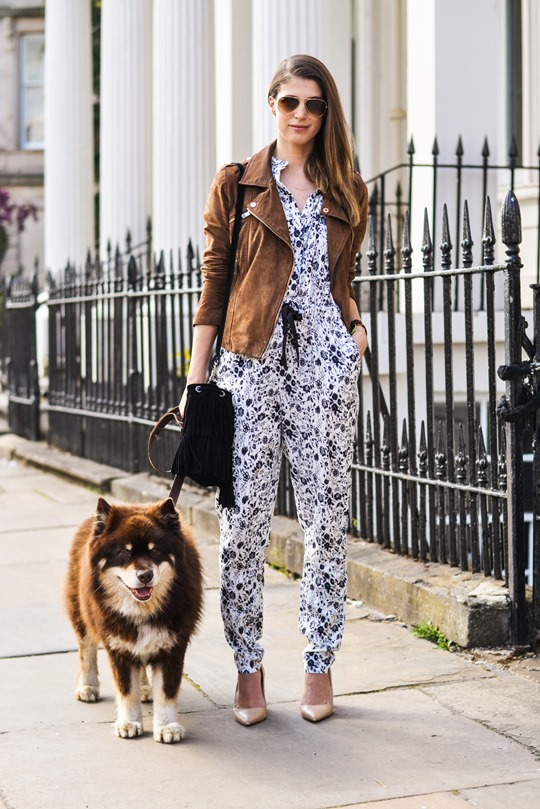 Thankfifi- Mango floral jumpsuit and tan suede biker jacket