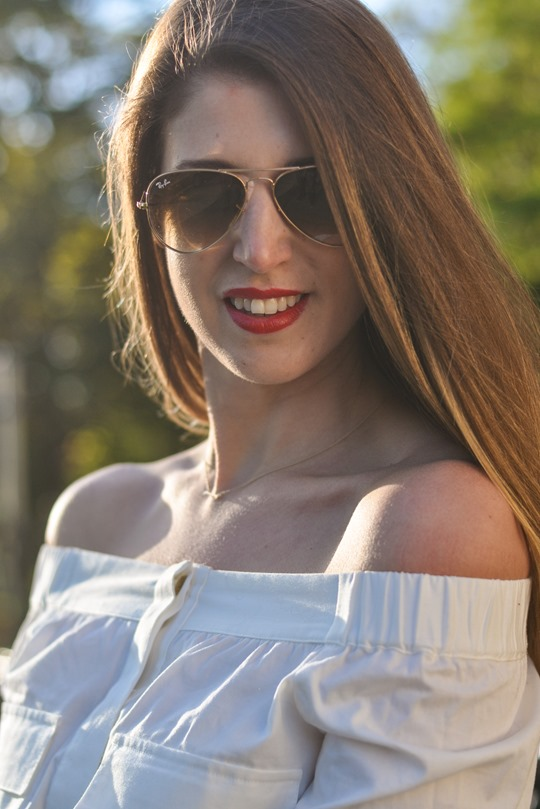 Thankfifi- Off the shoulder in  H&M Trend white shirt-10