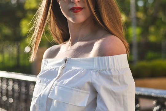 Thankfifi- Off the shoulder in  H&M Trend white shirt-11