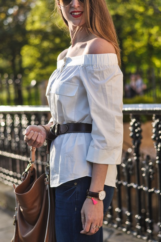 Thankfifi- Off the shoulder in  H&M Trend white shirt-12
