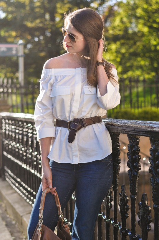 Thankfifi- Off the shoulder in  H&M Trend white shirt-3