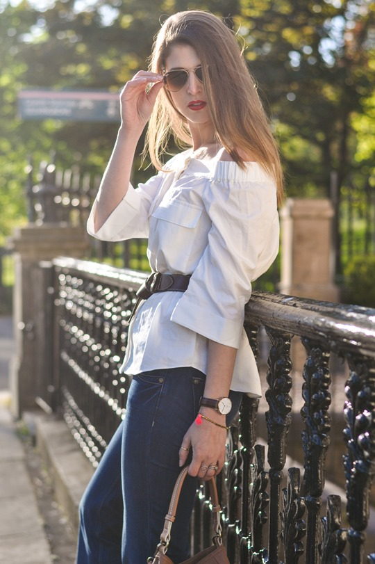 Thankfifi- Off the shoulder in  H&M Trend white shirt-5