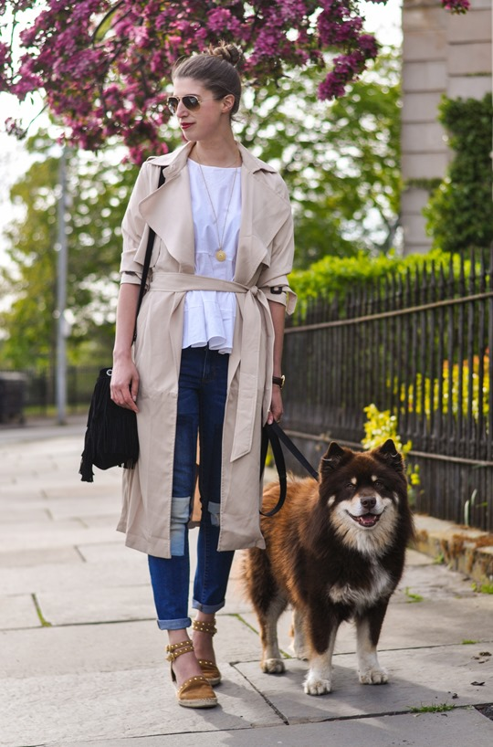 Thankfifi- Paisie beige colour block trench & patchwork jeans-2