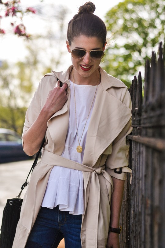Thankfifi- Paisie beige colour block trench & patchwork jeans-4