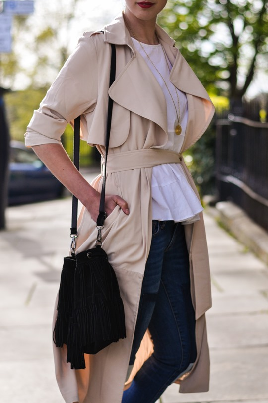 Thankfifi- Paisie beige colour block trench & patchwork jeans-6