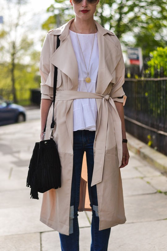 Thankfifi- Paisie beige colour block trench & patchwork jeans-7