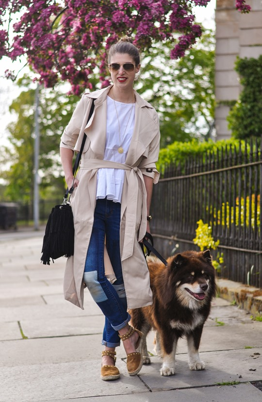 Thankfifi- Paisie beige colour block trench & patchwork jeans