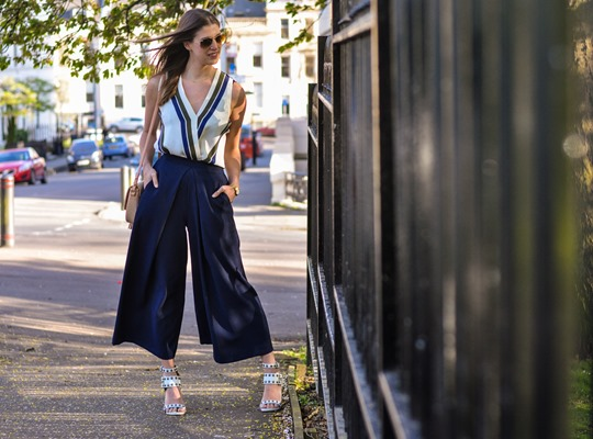 Thankfifi- Topshop stripe wrap top & navy culottes-16