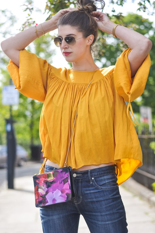Thankfifi- H&M Trend yellow balloon sleeve blouse & the Finnish Lapphund puppy-9