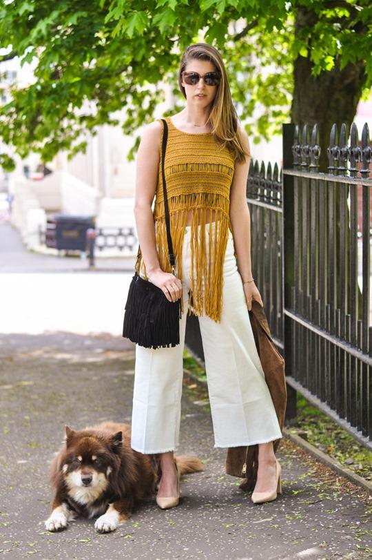 Thankfifi- Next fringe tassel top & H&M Trend white culottes-2