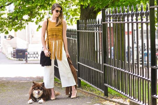 Thankfifi- Next fringe tassel top & H&M Trend white culottes-3