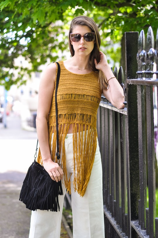 Thankfifi- Next fringe tassel top & H&M Trend white culottes-5