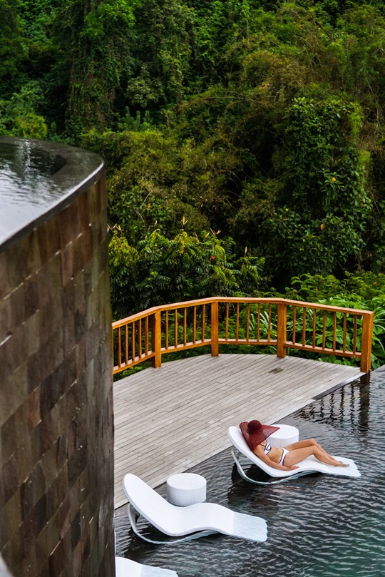 Thankfifi- Triangl Milly White bikini - Hanging Gardens infinity pools, Ubud, Bali-2