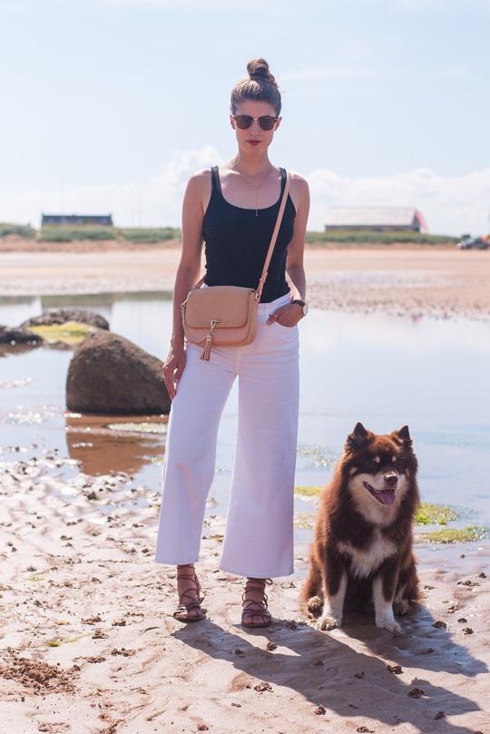 Thankfifi- J.Crew Raynor white culottes jeans on beautiful Elie beach, Scotland