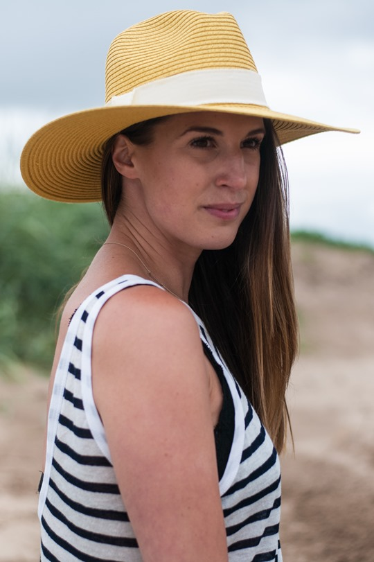 Thankfifi- Troon beach, Scotland - T by Alexander Wang stripe tank & Reiss yellow fedora-10