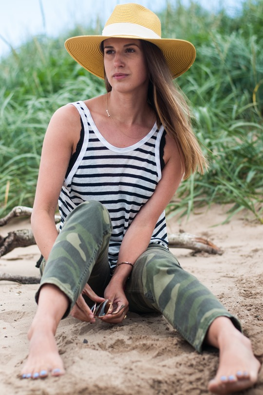 Thankfifi- Troon beach, Scotland - T by Alexander Wang stripe tank & Reiss yellow fedora-4