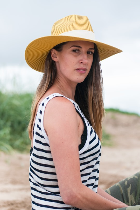 Thankfifi- Troon beach, Scotland - T by Alexander Wang stripe tank & Reiss yellow fedora-9