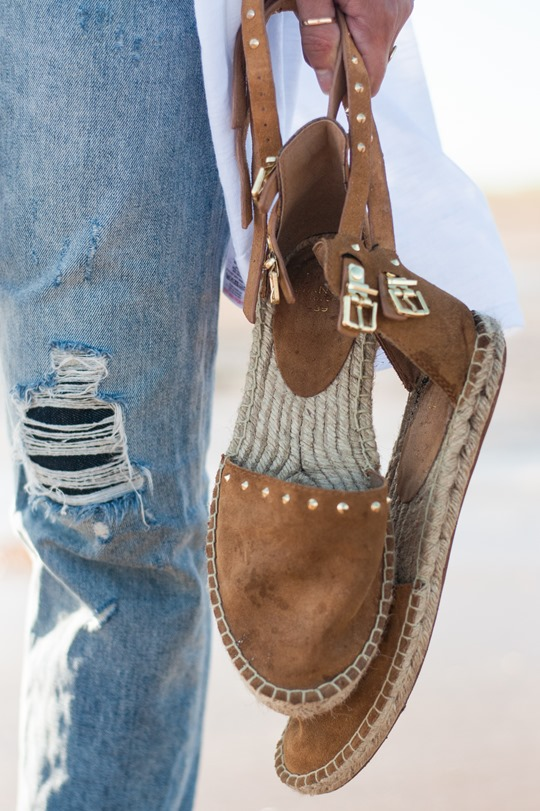 Thankfifi- Troon beach style in Mango studded tan suede espadrilles