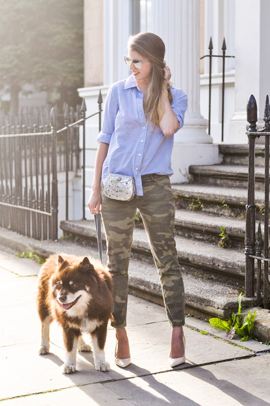 Mixing Camouflage Pants With Asos Metal Embellished Clutch