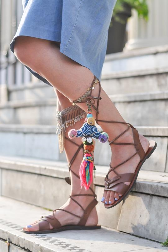Thankfifi- DIY embellished pompom gladiators