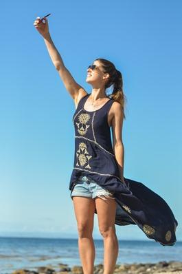 Thankfifi- Monsoon embroidered beach dress