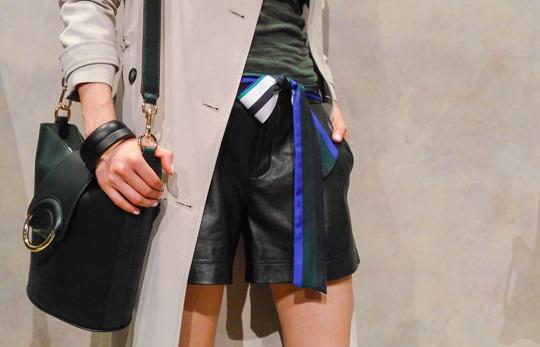 Thankfifi- Banana Republic SS16 Presentation New York Fashion Week Forest Green Leather Shorts