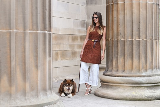 Thankfifi- Iris & Ink suede dress & Chelsea Paris Blade sandals-5