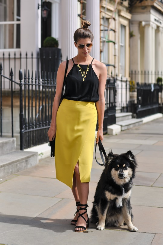 Thankfifi- Topshop yellow crepe wrap midi skirt