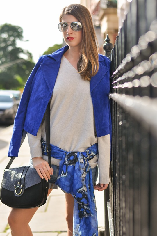 Thankfifi- Travel style in Mango cobalt blue suede jacket-14