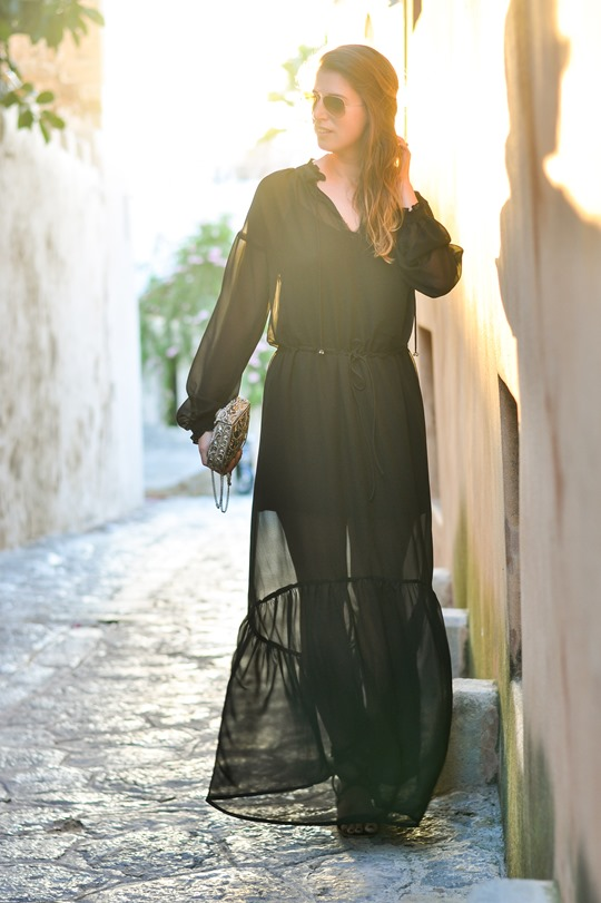 Thankfifi - Next black chiffon maxi dress #OrderByMidnight-3